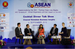 """Channel NewsAsia organised a Business Insights ASEAN Special forum on how businesses can """"Succeed in ASEAN Developing Economies"""" on 6th September 2016. It was held during the ASEAN Business and Investment Summit (ABIS) 2016, at Muong Thanh Luxury Hotel in Vientiane, Laos. The forum featured a panel made up of business leaders from the private sector of Laos. (From left to right) Mr. Alain Sengkeopraseuth, CEO, Green Hills Coffee, Mr. Vanpheng Somsana, Director, Khamphay Sana Group, Chloe Cho, Presenter and Executive Editor, Channel NewsAsia, Mr. Khamsinthavong Nhouvyvanisvong – Advisor to the President of ST Group and Ms. Anna Green, CEO, ANZ Bank Laos."""